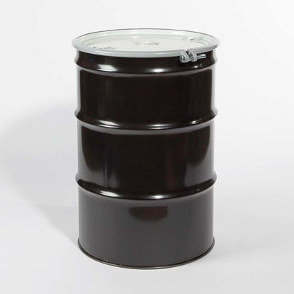 "Picture of 55 Gallon Black Steel Open Head Drum, Buff Epoxy Phenolic Lined w/ 2"" and 3/4"" Fittings, 1A2/Y1.5/100"