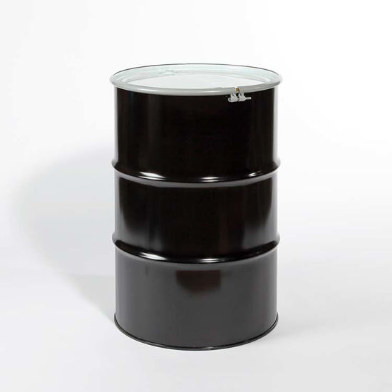 "Picture of 55 Gallon Black Steel Open Head Drum, Olive Drab Lined with 2"" and 3/4"" Fittings"