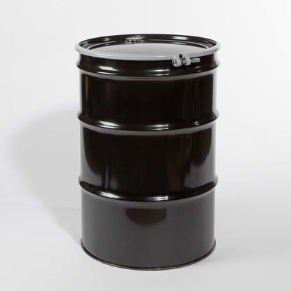 "Picture of 55 Gallon Black Steel Open Head Drum, Phenolic Lined with 2"" and 3/4"" Fittings, 1A2/Y1.8/150"
