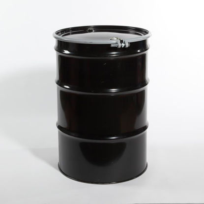 "Picture of 55 Gallon Black Steel Open Head Drum, Buff Epoxy Phenolic Lined w/ 2"" and 3/4"" Fittings, 1A2/Y1.8/150 & 1A2/X400/S"