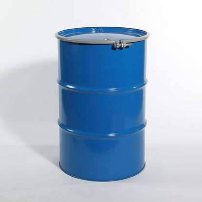 "Picture of 55 Gallon Black Steel Open Head Drum, Buff Epoxy Phenolic Lined w/ 2"" and 3/4"" Fittings, 1A2/Y1.5/150 & 1A2/X400/S"
