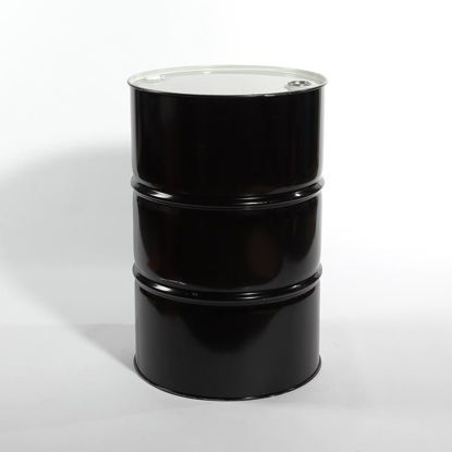 "Picture of 55 Gallon Black Steel Tight Head Drum, Unlined with 2"" and 3/4"" Fittings, 1A1/X1.8/300 (Poly Irradiated Gaskets)"