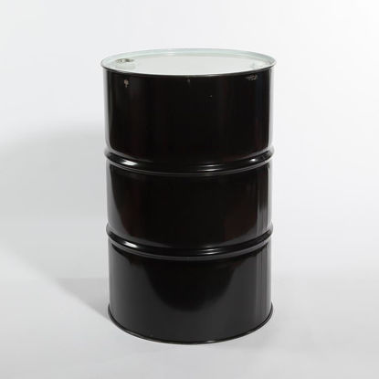 "Picture of 55 Gallon Black Steel Tight Head Drum, Buff Epoxy Phenolic Lined w/ 2"" and 3/4"" Fittings, 1A1/X1.8/300 (Buna Gaskets)"