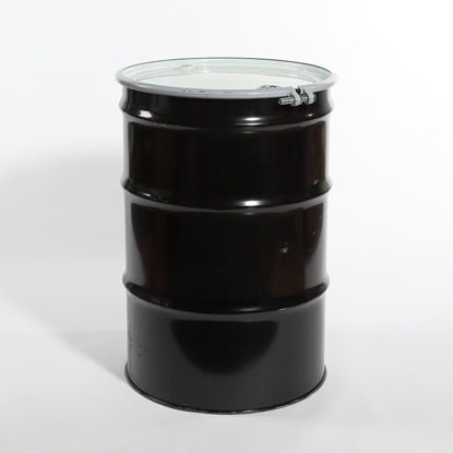"Picture of 55 Gallon Black Steel Open Head Drum, Unlined w/ 2"" and 3/4"" Fittings, 1A2/Y1.5/150 & 1A2/X426/S"