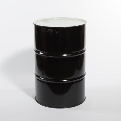 "Picture of 55 Gallon Black Steel Tight Head Drum, Unlined with 2"" and 3/4"" Fittings, 1A1/X1.8/300"