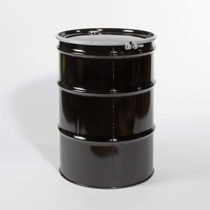 "Picture of 55 Gallon Black Steel Open Head Drum, Unlined with 2"" and 3/4"" Fittings, 1A2/Y1.2/100 & 1A2/X400/S"