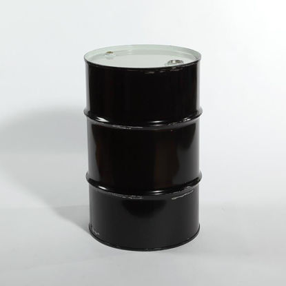 "Picture of 30 Gallon Black Steel Tight Head Drum, Unlined w/ 2"" and 3/4"" Fittings, 1A1/Y1.5/280"