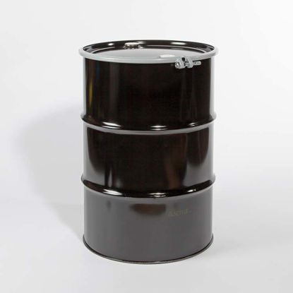 "Picture of 55 Gallon Black Steel Open Head Drum, Red Phenolic Lined w/ 2"" and 2"" Nylon Plugs"