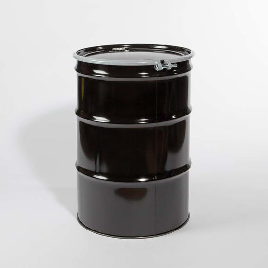 "Picture of 55 Gallon Black Steel Open Head Drum, Rust Inhibited with 2"" and 3/4"" Fittings, 1A2/Y1.8/150"