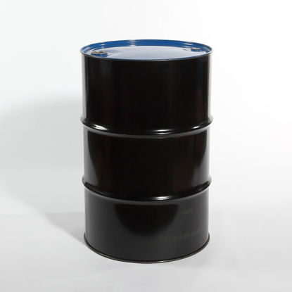 "Picture of 55 Gallon Black Steel Tight Head Drum, Buff Epoxy Phenolic Lined w/ 2"" and 3/4"" Fittings, 1A1/X1.8/300 (Blue Top)"