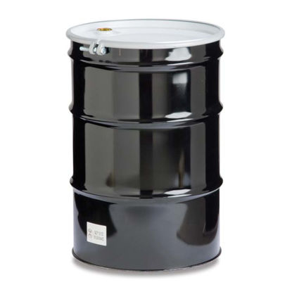 "Picture of 55 Gallon Black Steel Open Head Drum, Phenolic Lined w/ 2"" and 3/4"" Fittings"