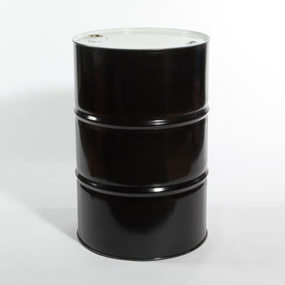"Picture of 55 Gallon Black Steel Tight Head Drum, Unlined with 2"" and 3/4"" Trisure Fittings, 1A1/X1.8/300"