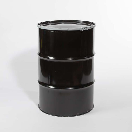Picture of 55 Gallon Black Steel Open Head Drum, Unlined, UN