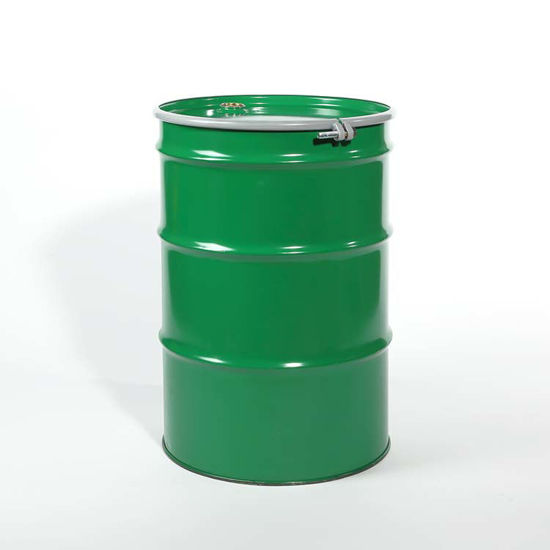 "Picture of 55 Gallon Green Steel Open Head Drum, Unlined w/ 2"" and 3/4"" Fittings, UN"