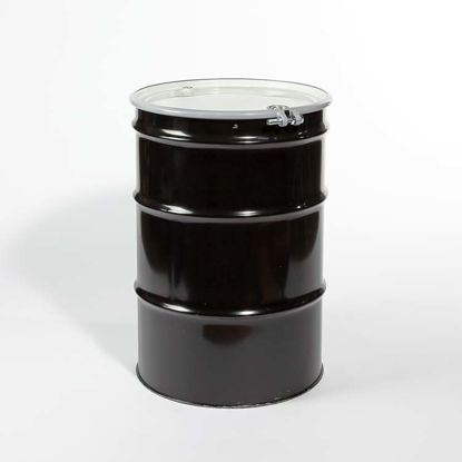 "Picture of 55 Gallon Black Steel Open Head Drum, Unlined w/ 2"" and 3/4"" Fittings, 1A2/Y1.6/150"