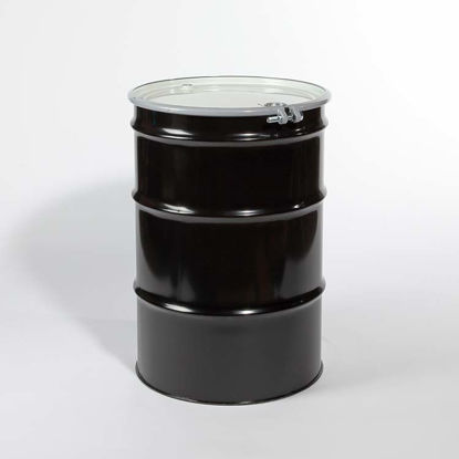 "Picture of 55 Gallon Black Steel Open Head Drum, Red Phenolic Lined w/ 2"" and 3/4"" Fittings, UN"