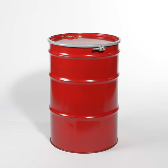 "Picture of 55 Gallon Red Steel Open Head Drum, Unlined w/ 2"" and 3/4"" Fittings, UN"
