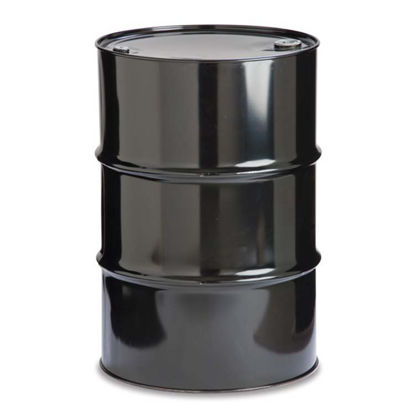 "Picture of 55 Gallon Black Steel Tight Head Drum, Lined w/ 2"" and 3/4"" Fittings"
