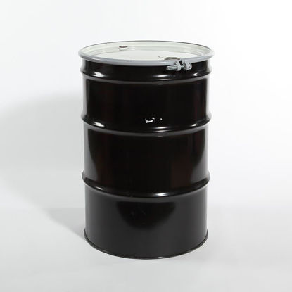 "Picture of 55 Gallon Black Steel Open Head Drum, Buff Epoxy Phenolic Lined w/ 2"" and 3/4"" Fittings,"