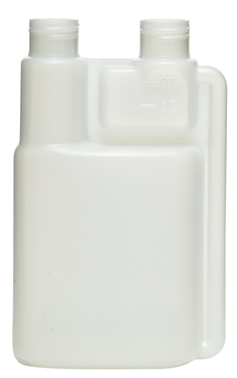 Picture of 32 oz Natural HDPE Twin Neck Bettix, 28-410, 1 oz Chamber, Fluorinated Level 4