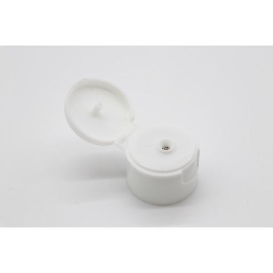Picture of 24-410 White PP Smooth Top, Smooth Sided Flip Top Capwith PS Liner, 5mm Orifice