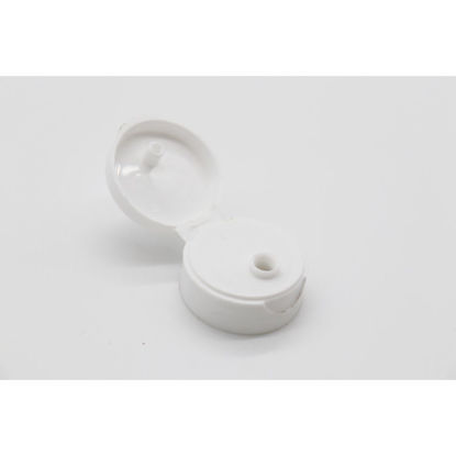 Picture of 28-400 White PP Smooth Top, Smooth Sided Flip Top Cap, 3mm Orifice