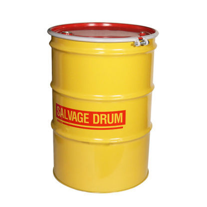 "Picture of 85 Gallon Yellow Steel Open Head Salvage Drum, Unlined with 3/4"" Fitting, 1A2/X440/S"