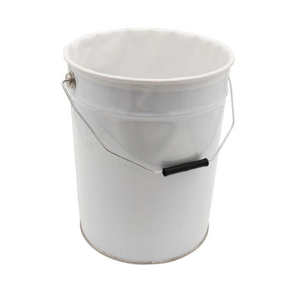 Picture of 22 Liter White Tinplate Open Head Pail, Lacqured with LDPE Liner