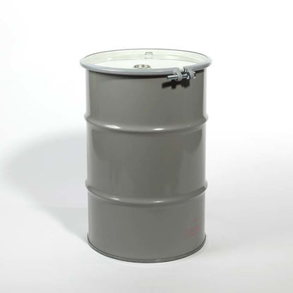 "Picture of 30 Gallon Gray Steel Open Head Drum, Unlined w/ 2"" and 3/4"" Fittings, UN"
