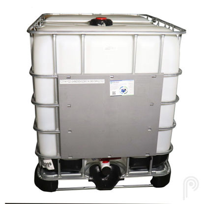 "Picture of 275 Gallon New Tote with 6"" Cap & 2"" Cylinder Camlock Valve, Composite Pallet"
