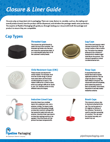 Pipeline Packaging Bottle Closure and Cap Liners Guide